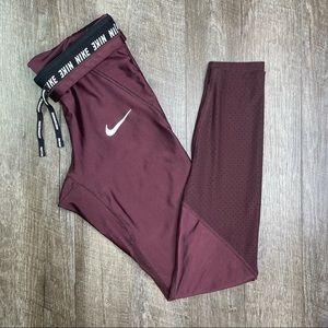 "Nike Speed 25"" Running Tights Burgundy Size XS"
